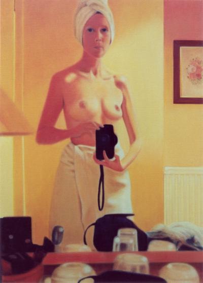 Lique Schoot, Self-portrait in front of Bathroom Mirror