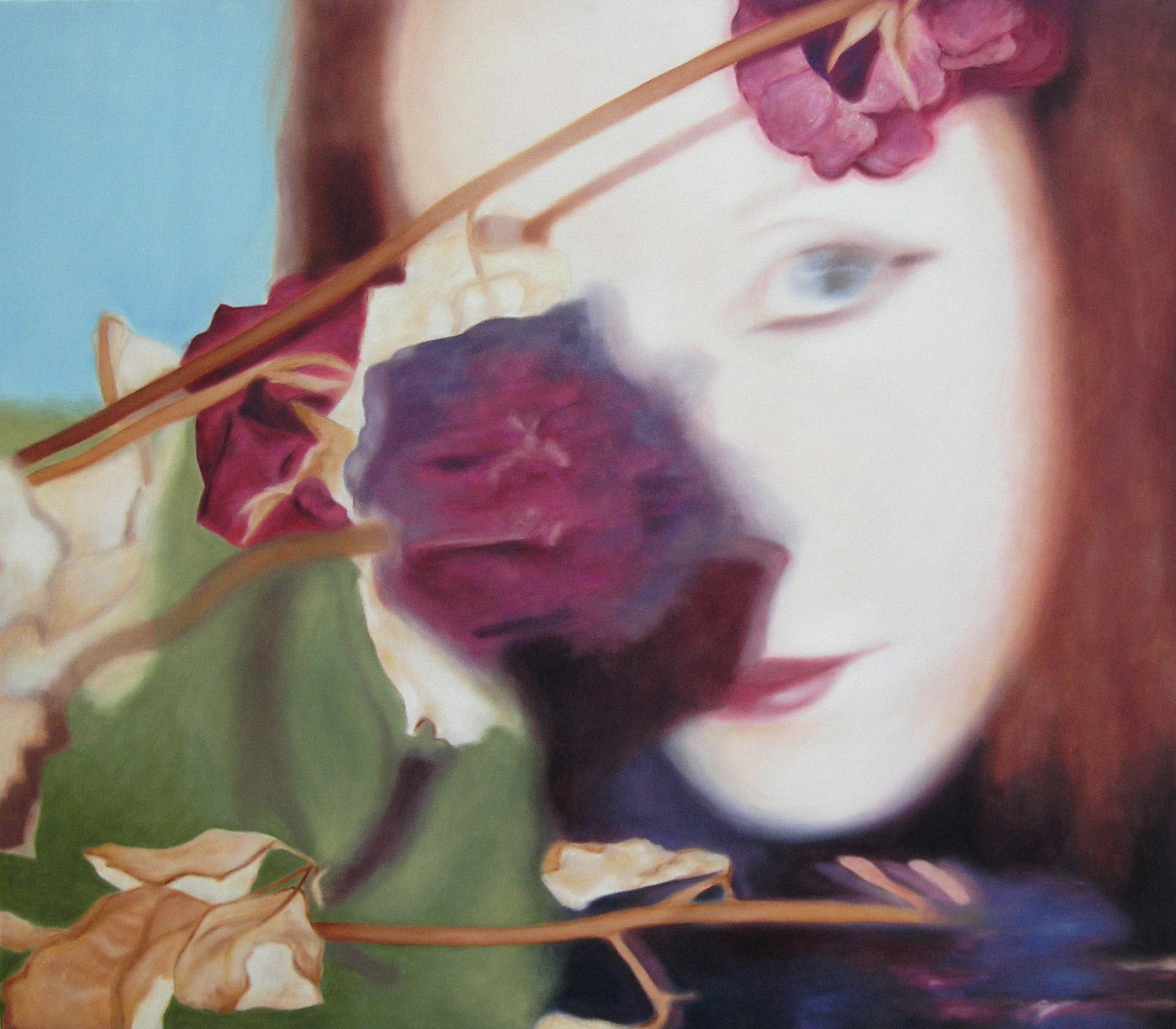 Lique Schoot, Self-portrait with Flowers