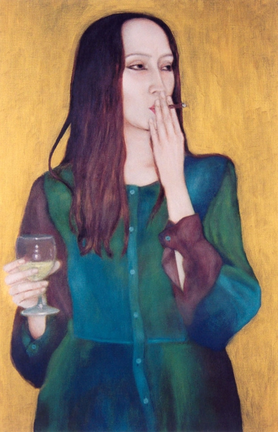 Lique Schoot, Self-portrait with Wine and Cigar